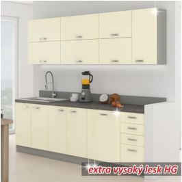 Kuchyňská linka základní sestava PRADO 260 krémová extra vysoký lesk / šedá Tempo Kondela