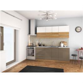 Kuchyňská linka SERGIO 200 bílý lesk / světlý ořech / cobalt šedý lesk Tempo Kondela