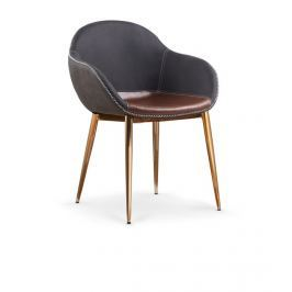 Jídelní židle K304 hnědá/tmavě šedá Halmar