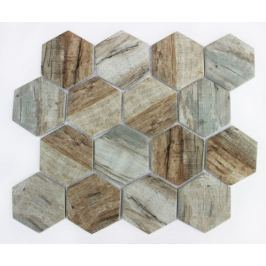Mozaika sklo hexagon brown26x30 (7,3x8,4 MOSV84HBR