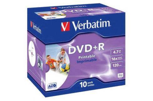 Verbatim Printable DVD+R 4,7GB, 16x, jewel box, 10ks (43508) Záznamová média