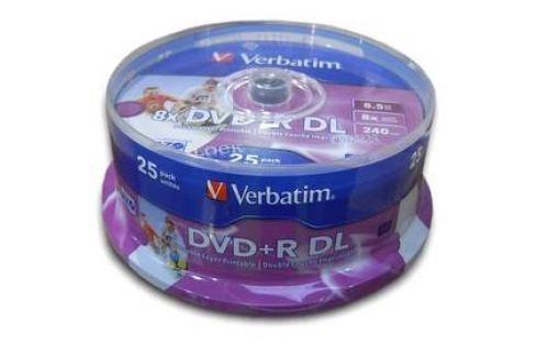 Verbatim DVD+R DualLayer, 8,5GB, 8x, printable, 25cake (43667) Záznamová média