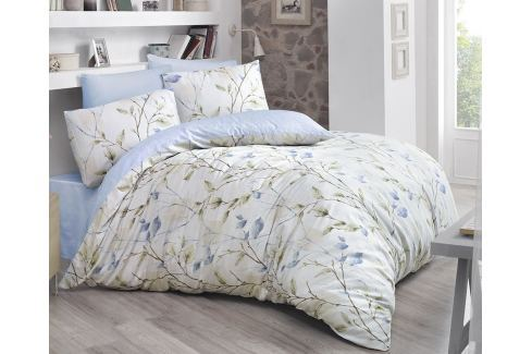 Povlečení Blossom modré 140x200 jednolůžko - standard bavlna Květinové vzory