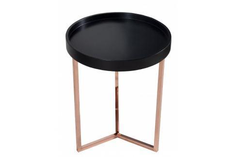 INV Odkládací stolek Linoa 40cm černá/měď Odkládací stolky