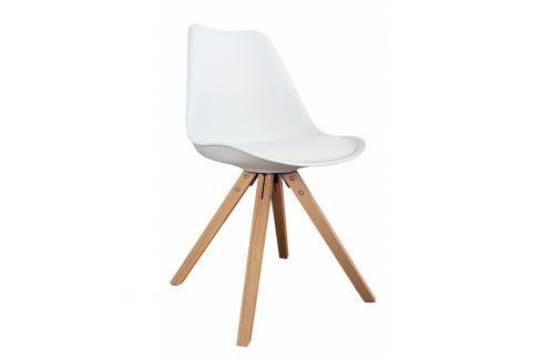 INV Židle LUTON bílá (masivní podnož) Jídelní židle