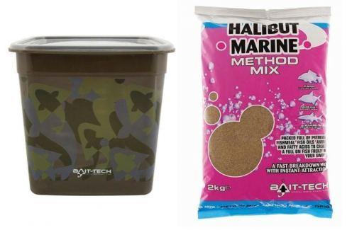 Bait-Tech Camo Bucket Halibut Marine Method Mix 3kg Krmítkové směsi, method mixy