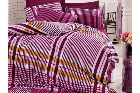 Homeville Povlečení 100% bavlna Emma fialková káro se dvěma povlaky na polštář - 140x220 / 50x70 + 70x90 Ložní povlečení