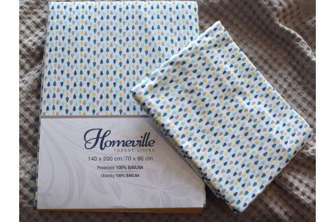 Homeville Homeville povlečení 100% bavlna Esteri modrá 140x200cm+70x90cm Ložní povlečení