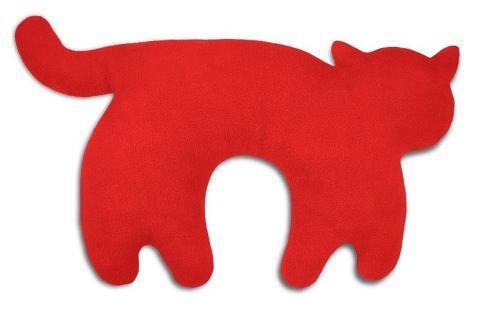 Leschi Cestovní polštářek kočka Feline 46x25cm červená/černá Dekorační polštáře