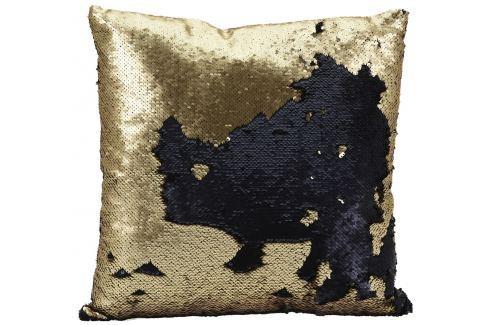 Home collection Dekorační polštář s flitry 45x45 cm zlatá/černá Dekorační polštáře