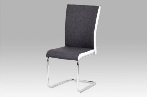 Jídelní židle šedá látka + bílá koženka  / chrom HC-369 GRWT2 Autronic JÍDELNÍ ŽIDLE