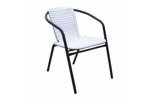 Záhradní židle, stohovatelná, bílá / černá, BERGOLA 0000194799 Tempo Kondela ZAHRADNÍ ŽIDLE